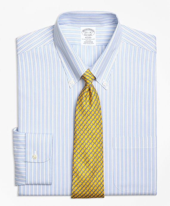 Regent Fitted Dress Shirt, Non-Iron Track Stripe Blue
