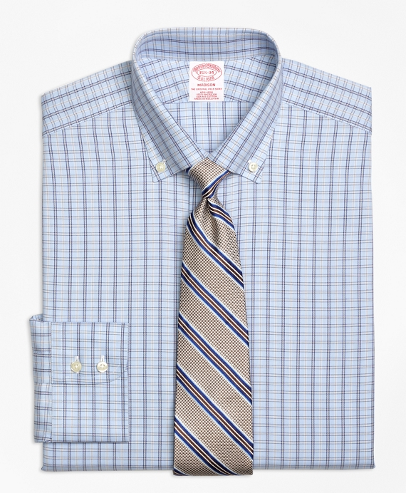Madison Classic-Fit Dress Shirt, Non-Iron Alternating Framed Tattersall