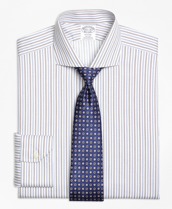 Regent Fitted Dress Shirt, Non-Iron Alternating Triple Stripe Blue