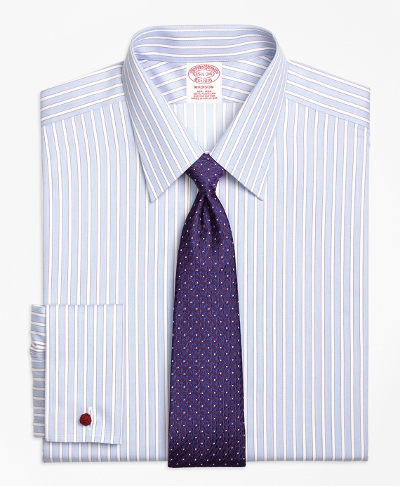 Non-Iron Madison Fit Hairline Framed Stripe French Cuff Dress Shirt Blue