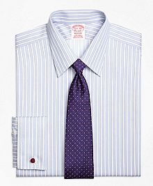Non-Iron Madison Fit Hairline Framed Stripe French Cuff Dress Shirt