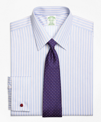Non-Iron Milano Fit Hairline Framed Stripe French Cuff Dress Shirt