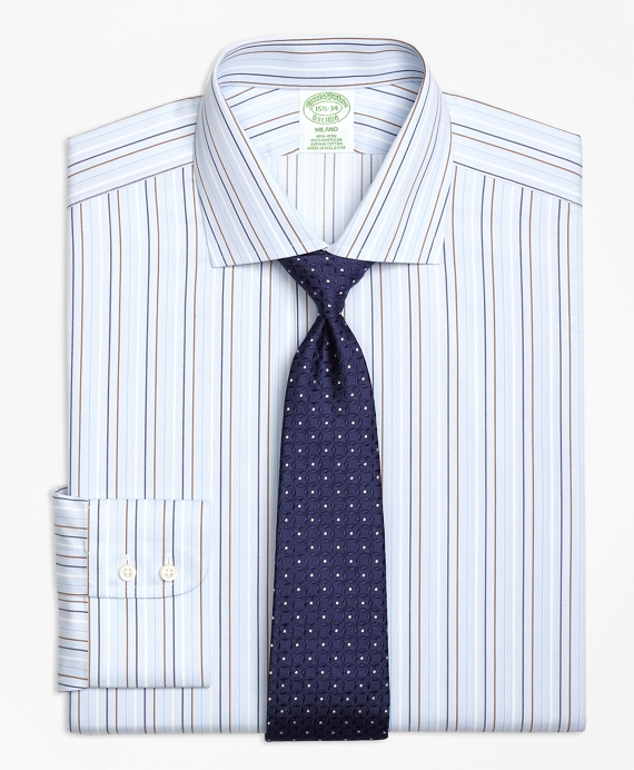 Non-Iron Milano Fit Alternating Stripe Dress Shirt