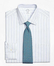 Non-Iron Regent Fit  Alternating Hairline Stripe Dress Shirt