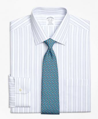 Non-Iron Regent Fit  Alternating Hairline Stripe Dress Shirt
