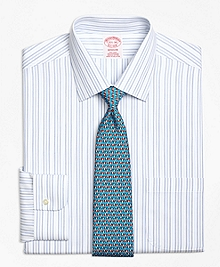 Non-Iron Madison Fit  Alternating Hairline Stripe Dress Shirt