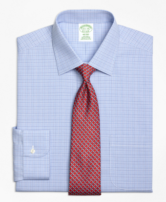 Non-Iron Milano Fit Glen Plaid Dress Shirt