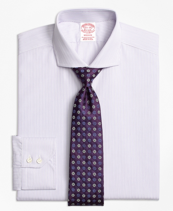 Madison Classic-Fit Dress Shirt, Alternating Framed Stripe Purple