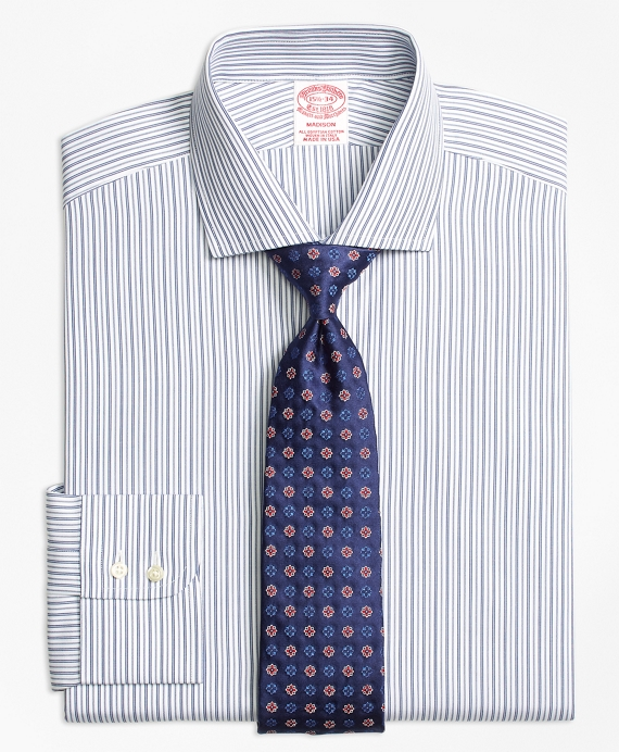 Madison Classic-Fit Dress Shirt, Alternating Track Stripe Blue