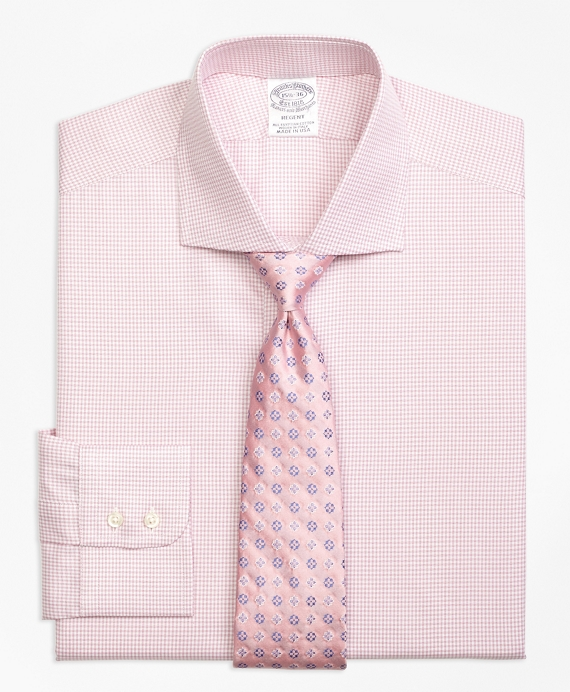 Regent Fitted Dress Shirt, Framed Check Pink