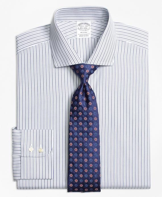 Regent Fitted Dress Shirt, Alternating Track Stripe Blue
