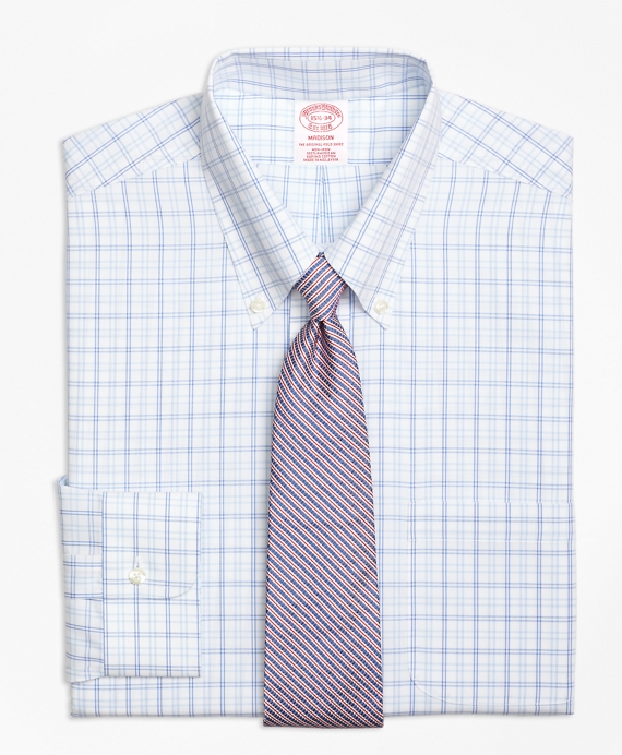 Madison Classic-Fit Dress Shirt, Non-Iron Alternating Twin Tattersall Blue