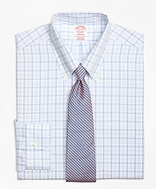 Non-Iron Madison Fit Alternating Twin Tattersall Dress Shirt