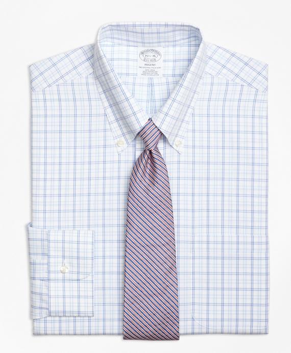 Regent Fitted Dress Shirt, Non-Iron Alternating Twin Tattersall Blue