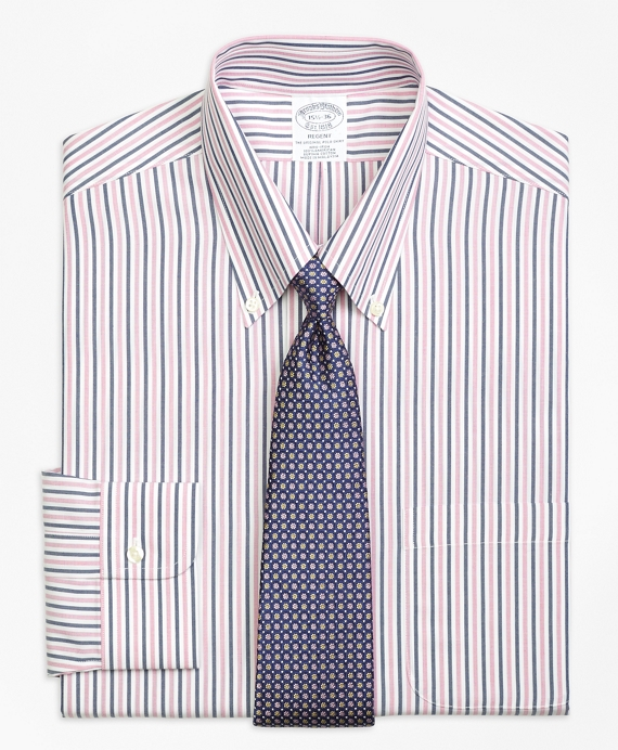 Non-Iron Regent Fit Bold Stripe Dress Shirt Pink