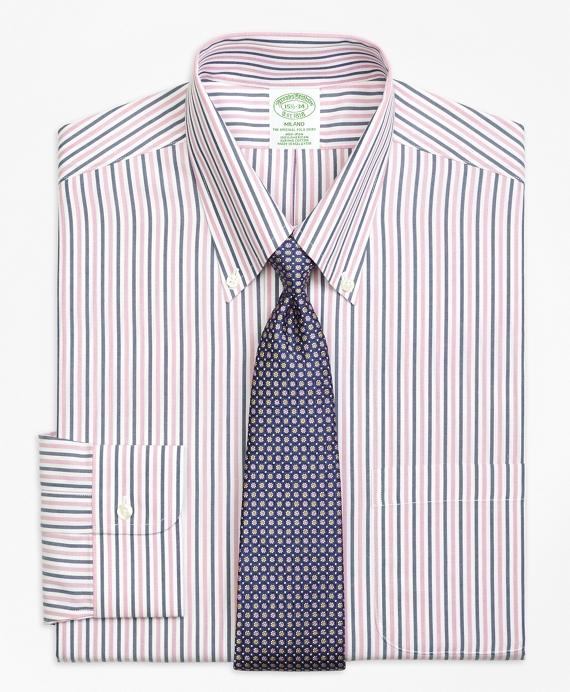 Milano Slim-Fit Dress Shirt, Non-Iron Bold Stripe Pink