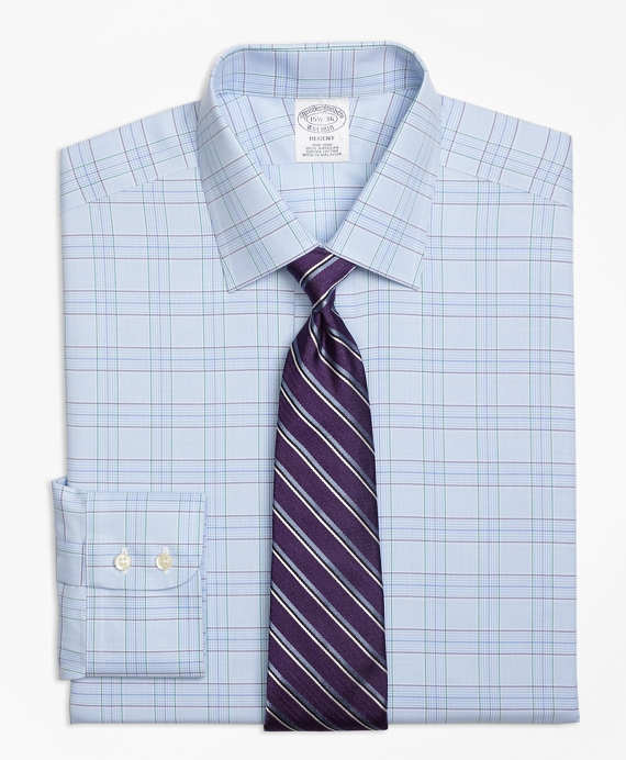 Regent Fitted Dress Shirt, Non-Iron Two-Tone Glen Plaid Light Blue