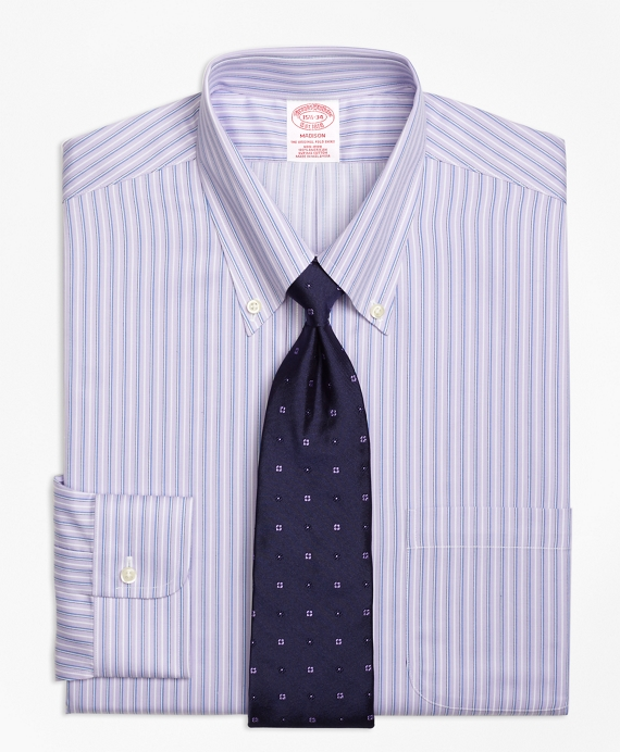 Madison Classic-Fit Dress Shirt, Non-Iron Triple Stripe Purple