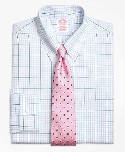 Non-Iron Madison Fit Alternating Overcheck Dress Shirt