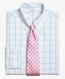 Non-Iron Regent Fit Alternating Overcheck Dress Shirt