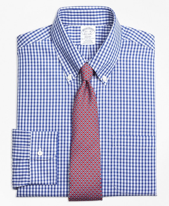 Regent Fitted Dress Shirt, Non-Iron Framed Check Blue