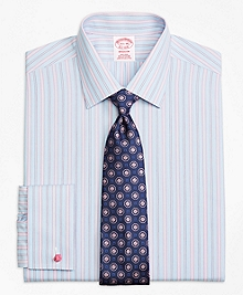 Non-Iron Madison Fit Hairline Track Stripe French Cuff Dress Shirt