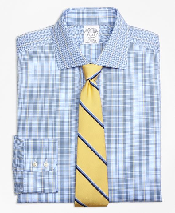 Regent Fitted Dress Shirt, Non-Iron Glen Plaid Overcheck Blue