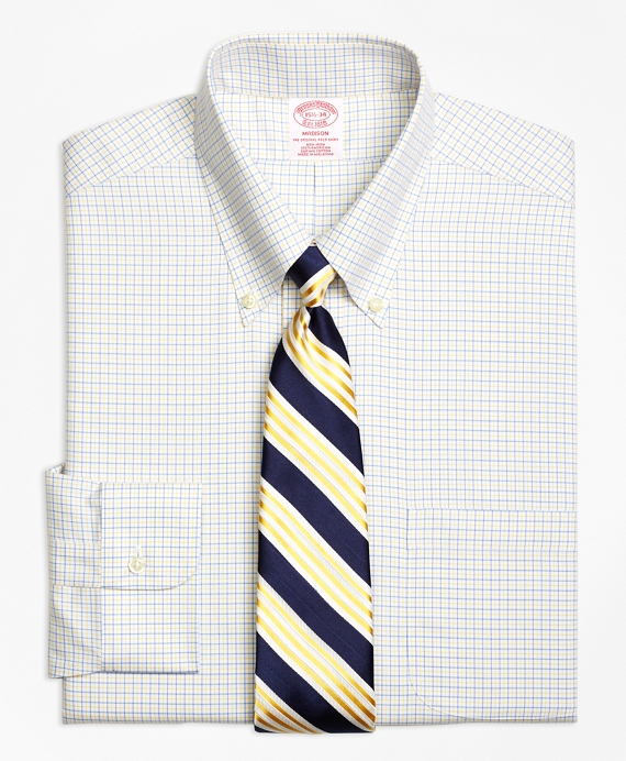 Madison Classic-Fit Dress Shirt, Non-Iron Two-Color Tattersall Blue