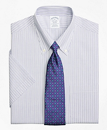 Non-Iron Regent Fit Split Stripe Short-Sleeve Dress Shirt