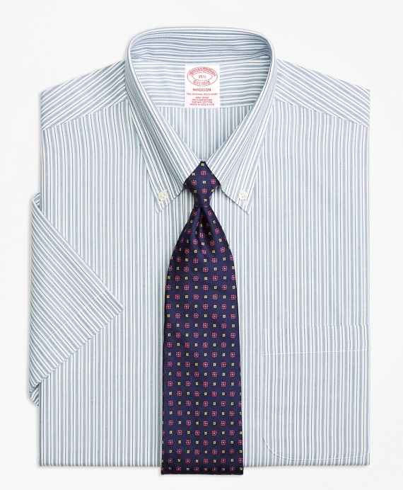 Madison Classic-Fit Dress Shirt, Non-Iron Split Stripe Short-Sleeve Blue