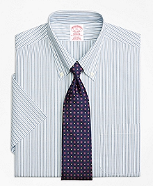 Non-Iron Madison Fit Split Stripe Short-Sleeve Dress Shirt