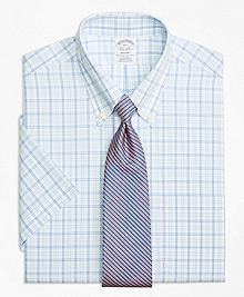 Non-Iron Regent Fit Alternating Twin Tattersall Short-Sleeve Dress Shirt