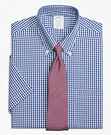 Non-Iron Regent Fit Framed Check Short-Sleeve Dress Shirt