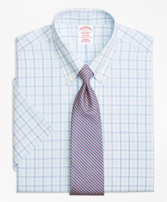 Madison Classic-Fit Dress Shirt, Non-Iron Alternating Twin Tattersall Short-Sleeve