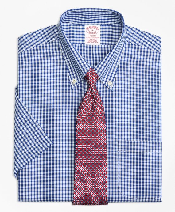 Madison Classic-Fit Dress Shirt, Non-Iron Framed Check Short-Sleeve Blue