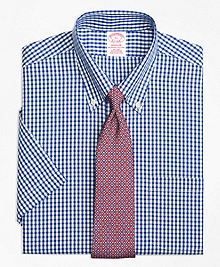 Non-Iron Madison Fit Framed Check Short-Sleeve Dress Shirt