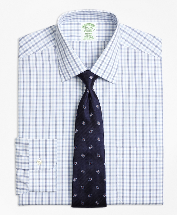 Non-Iron Milano Fit Hairline Framed Check Dress Shirt Blue