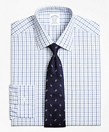 Non-Iron  Regent Fit Hairline Framed Check Dress Shirt