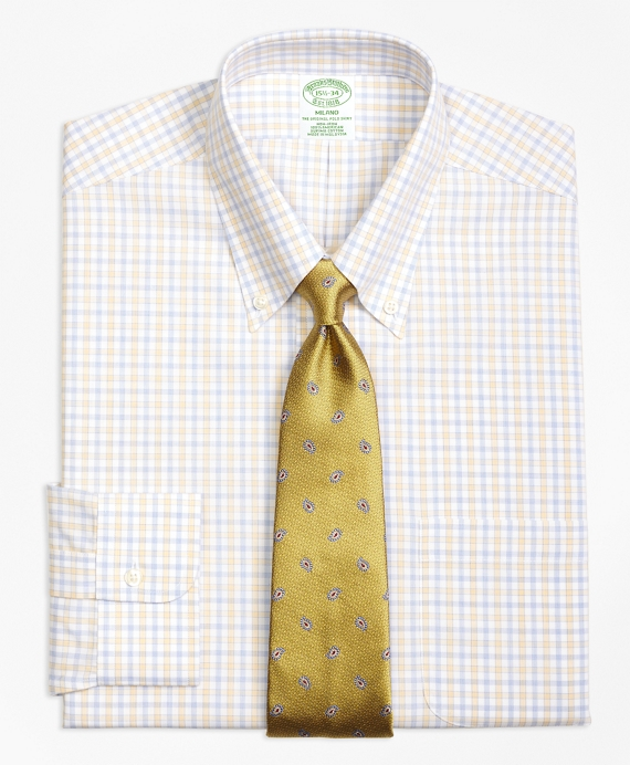 Milano Slim-Fit Dress Shirt, Non-Iron Hairline Framed Check Yellow