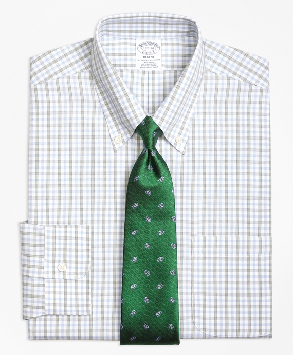 Regent Fitted Dress Shirt, Non-Iron Hairline Framed Check Green