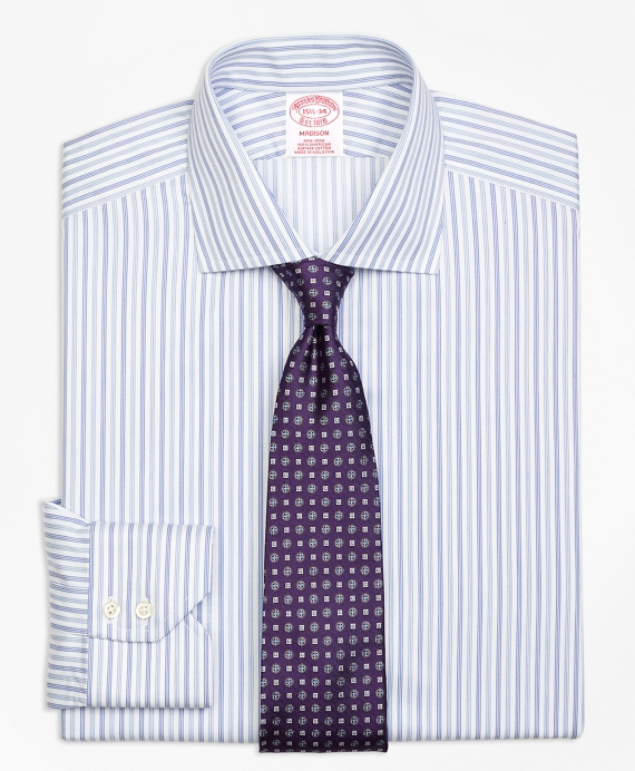 Non-Iron Madison Fit Alternating Triple Stripe Dress Shirt