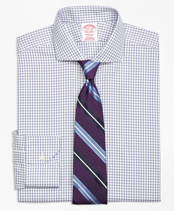 Madison Classic-Fit Dress Shirt, Non-Iron Framed Twin Check Blue