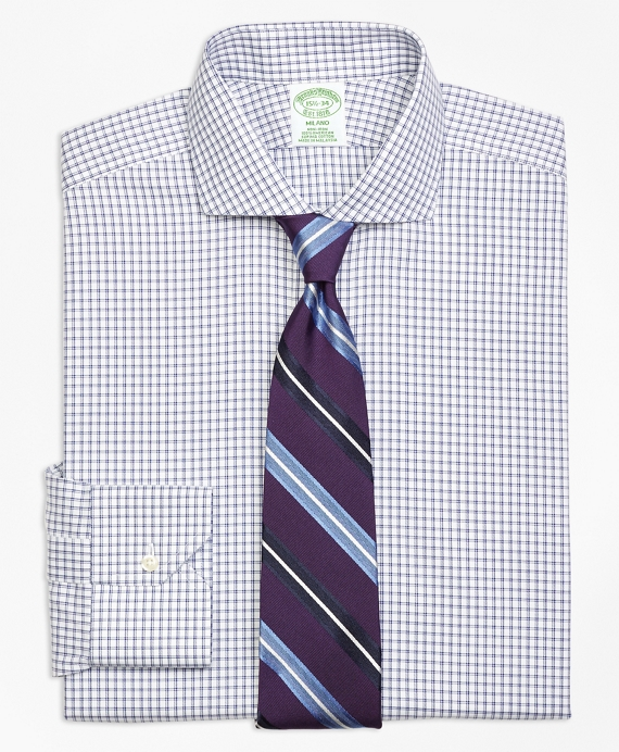 Non-Iron Milano Fit Framed Twin Check Dress Shirt
