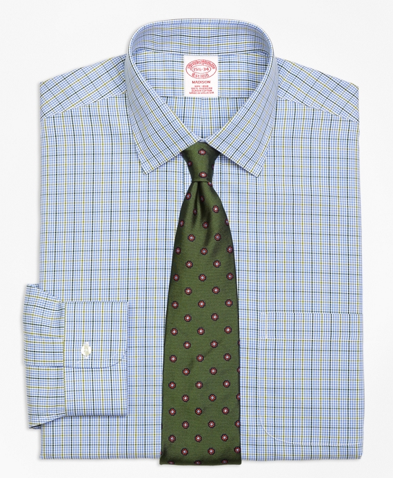 Madison Classic-Fit Dress Shirt, Non-Iron Gingham Overcheck