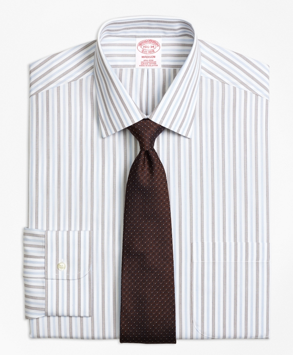 Madison Classic-Fit Dress Shirt, Non-Iron Hairline Framed Stripe Brown