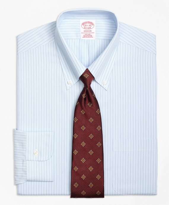 Non-Iron Madison Fit Hairline Split Stripe Dress Shirt