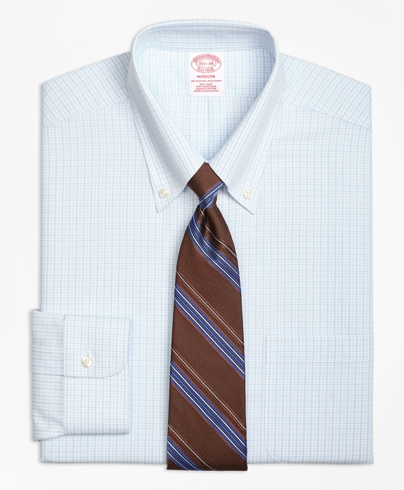 Madison Classic-Fit Dress Shirt, Non-Iron Double Tattersall