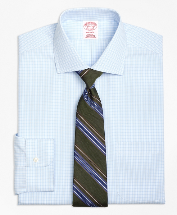 Madison Classic-Fit Dress Shirt, Non-Iron Split Check Light Blue
