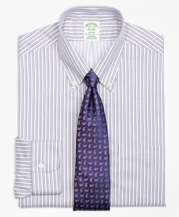 Milano Slim-Fit Dress Shirt, Non-Iron Sidewheeler Stripe Blue