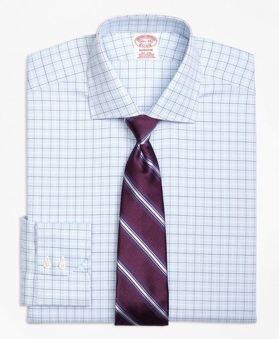 Madison Classic-Fit Dress Shirt, Non-Iron Alternating Tattersall Light Blue
